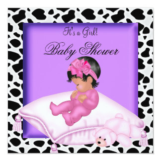 African American Baby Shower Girl Purple Pink Announcements