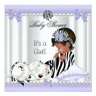African American Baby Shower Girl Purple Zebra Card
