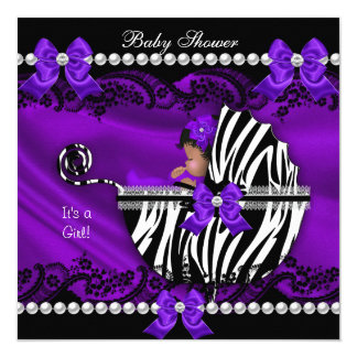 African American Baby Shower Girl Purple Zebra 5.25x5.25 Square Paper Invitation Card