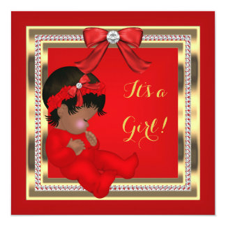 African American Baby Shower Girl Red Diamond 5.25x5.25 Square Paper Invitation Card