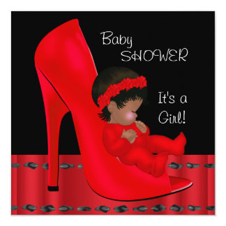 African American Baby Shower Girl Red Shoe 2 Personalized Announcement