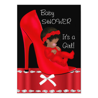 African American Baby Shower Girl Red Shoe Personalized Invitations