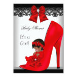 African American Baby Shower Girl Red Shoe Lace 11 Cm X 16 Cm Invitation Card