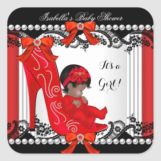 African American Baby Shower Girl Red Shoe Square