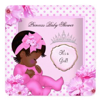 African American Baby Shower Girl Sweet Baby 13 Cm X 13 Cm Square Invitation Card