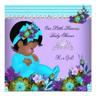 African American Baby Shower Girl Teal Blue Purple 13 Cm X 13 Cm Square Invitation Card