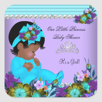 African American Baby Shower Girl Teal Blue Purple Square Sticker