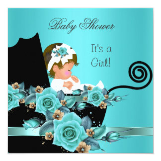 African American Baby Shower Girl Teal Rose 5.25x5.25 Square Paper Invitation Card