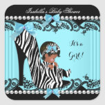African American Baby Shower Girl Zebra Teal