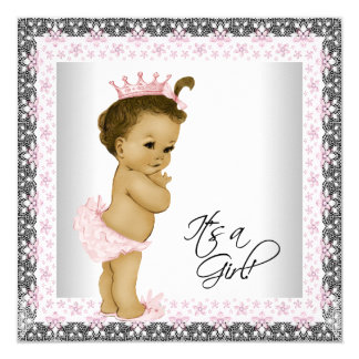 African American Baby Shower Custom Announcement Cards