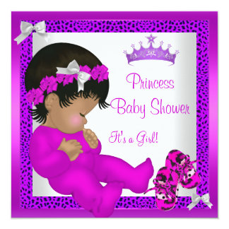 African American Baby Shower Purple Pink Leopard 2 13 Cm X 13 Cm Square Invitation Card
