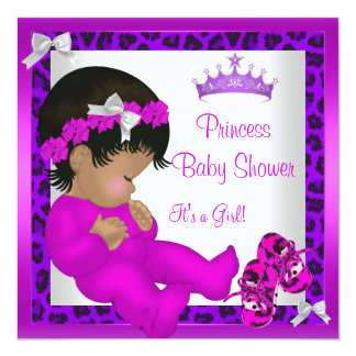 African American Baby Shower Purple Pink Leopard 3 13 Cm X 13 Cm Square Invitation Card