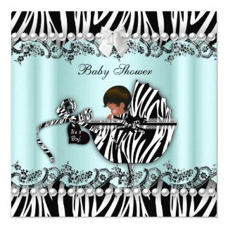 African American Baby Shower Zebra Boy or Girl 13 Cm X 13 Cm Square Invitation Card