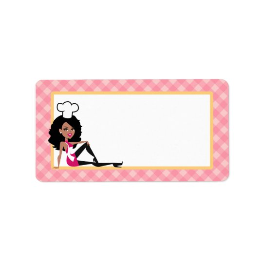 African American Baker Lady Label Address Label