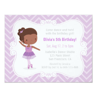 African American Ballerina Girl Birthday Party Card