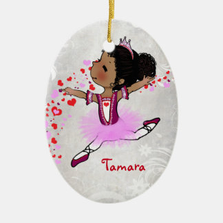 African  American Ballerina Personalized Christmas Christmas Ornament