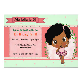 African American Ballet or Dance Birthday Party 13 Cm X 18 Cm Invitation Card