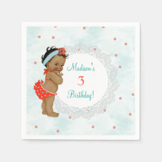 African American Bathing Suit Baby Lace Aqua & Red Paper Napkins