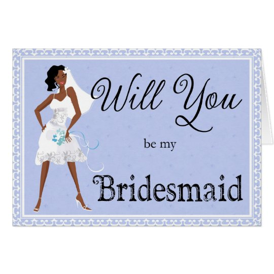 African American Be My Bridesmaid Bridal Accessory Card
