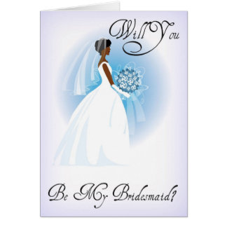African American Be My Bridesmaid Invitation Card