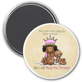 African American Big Sister - Twins Queen 7.5 Cm Round Magnet
