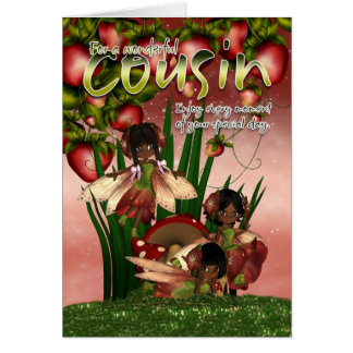 African American Birthday Card - Cousin - Moonies