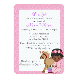 "African American Black Baby Shower Invitation Girl 5"" X 7"" Invitation Card"