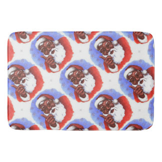 African American Black Santa Claus Christmas Bath Mat