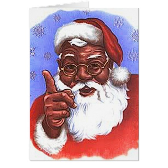 African American Black Santa Claus Christmas Card