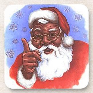 African American Black Santa Claus Christmas Coaster