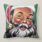 African American Black Santa Claus Christmas Cushion