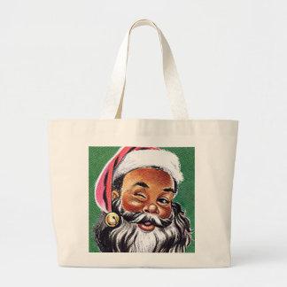 African American Black Santa Claus Christmas Jumbo Tote Bag