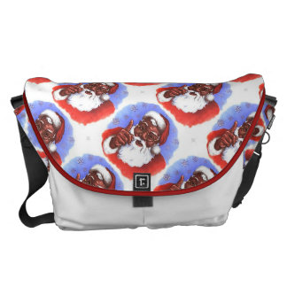 African American Black Santa Claus Christmas Messenger Bags