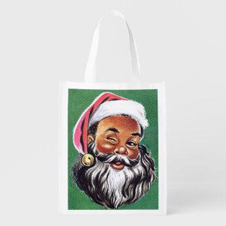 African American Black Santa Claus Christmas Reusable Grocery Bag