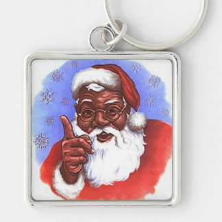 African American Black Santa Claus Christmas Silver-Colored Square Key Ring