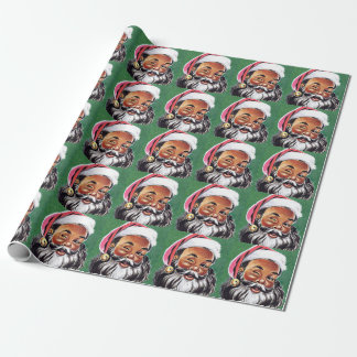 African American Black Santa Claus Christmas Wrapping Paper