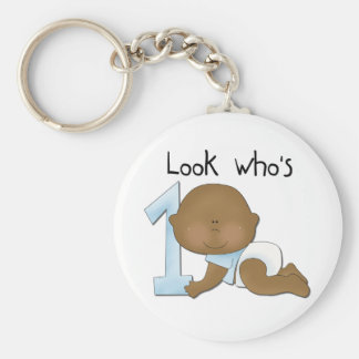 African American Boy 1st Birthday Tshirts and Gift Key Ring