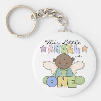 African American Boy 1st Birthday Tshirts Basic Round Button Key Ring