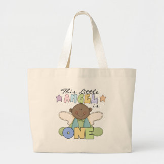 African American Boy 1st Birthday Tshirts Jumbo Tote Bag