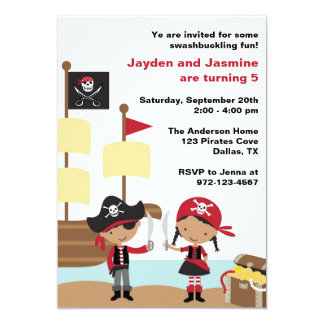 African American Boy and Girl Pirate Invitations Announcement