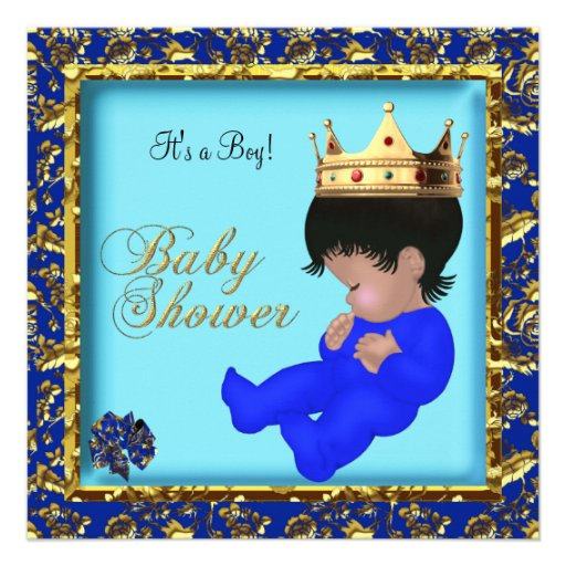 African American Boy Baby Shower Prince Gold Custom Announcement