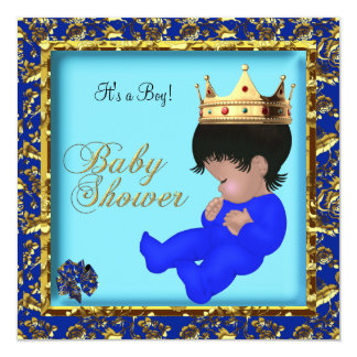 African American Boy Baby Shower Prince Gold 13 Cm X 13 Cm Square Invitation Card