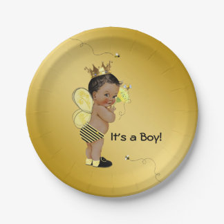 African American Boy Bee Baby Shower Paper Plate