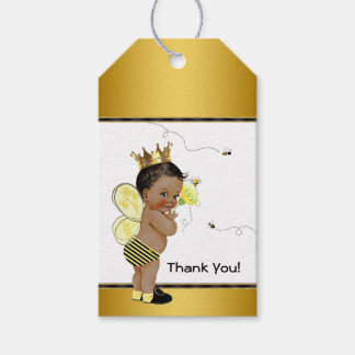 African American Boy Bee Baby Shower Thank You Gift Tags
