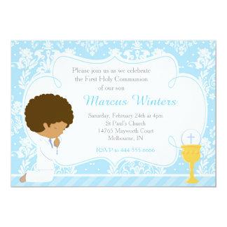 African American Boy First Communion Damask Card
