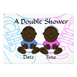 African-American Boy Girl Twins Shower Invitation