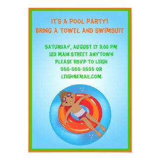African American Boy Pool Birthday Invitation