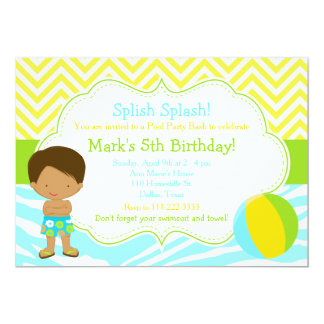 African American Boy Pool Party Bash Party Card