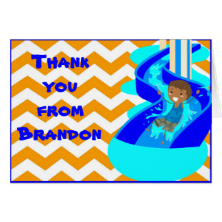 African American Boy Pool Party Thank You NoteCard Card