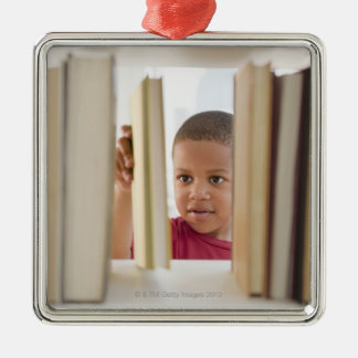 African American boy selecting book Christmas Ornament